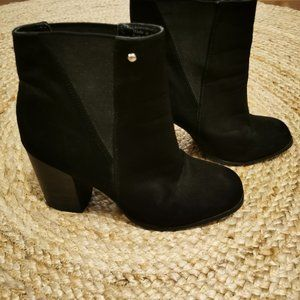 Black Faux Suede Booties - Steve Madden - Size 9